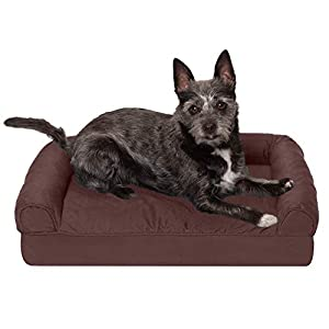 Furhaven Pet Dog Bed – Orthopedic Quilted Traditional Sofa-Style Living Room Couch Pet Bed with Removable Cover for Dogs and Cats, Coffee, Small