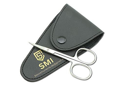 SMI - 9,5 cm Hautschere extra fein gebogen, Nagelschere fingernägel, Nagelhautschere gebogen Edelstahl kleine Schere Profi mit etui