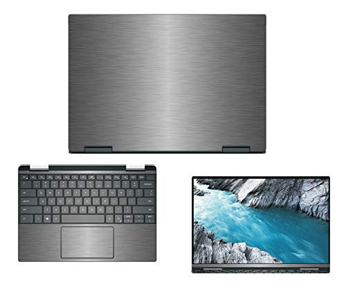 """Decalrus - Protective Decal for Dell XPS 13 7390 2-in-1 (13.3"""" Screen) Laptop Titanium Texture Brushed Aluminum Skin case Cover wrap BAdellXPS-7390-2-in-1Titanium"""