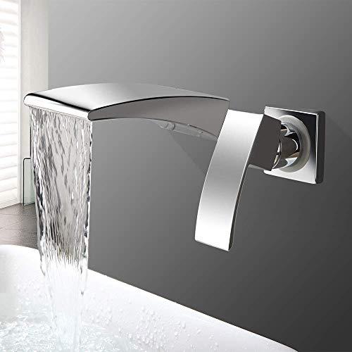 SPRINGHUA Grifo de lavabo Grifo de lavabo oculto doble agujero 2 piezas juego chapado sola manija cascada boca y fría mezcla válvula baño grifos