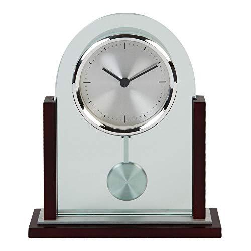 Wm. Widdop Reloj de escritorio moderno de cristal transparente arqueado madera de caoba acabado péndulo mesa para hogar u oficina