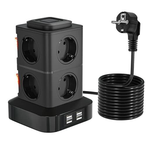 OLEKE Regleta Vertical Enchufes 2500W/10A Regleta Enchufe con 8 Tomas Corrientes y 4 Rápida USB Tomas Protección de Sobrecarga Cable de extensión de 3m y Tapón de Seguridad
