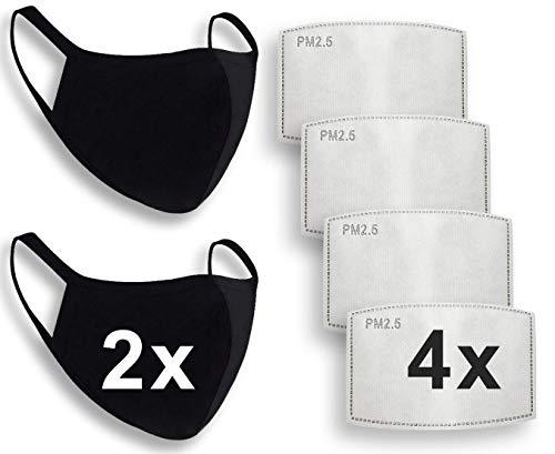 2 mascherine antipolvere con 4 filtri a carboni attivi intercambiabili PM2.5, unisex per bocca e naso, protezione per la bocca e la bocca, in tessuto di cotone lavabile, riutilizzabile, colore: nero