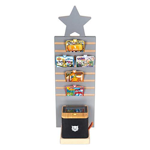 BOARTI Tower grau mit Stern grau geeignet für die tigerbox Touch und ca. 16 tigercards, Wand und Standregal zum Spielen und Sammeln
