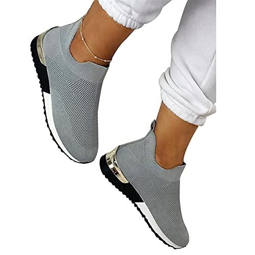 Zapatillas cómodas y ligeras para mujer, elegantes y elásticas, sin cordones, planas y holgadas, para mujer, de malla superior, transpirables, para mujer al aire libre, casual