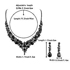 Clearine Women's Wedding Bridal Austrian Crystal Teardrop Cluster Statement Necklace Dangle Earrings Set Black Black-Tone #3