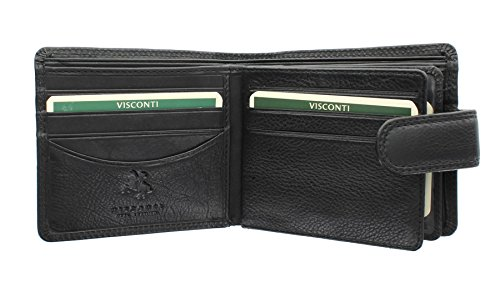 Visconti Heritage Collection Strand Leather Wallet with Tab Closure RFID Blocking HT13 Black