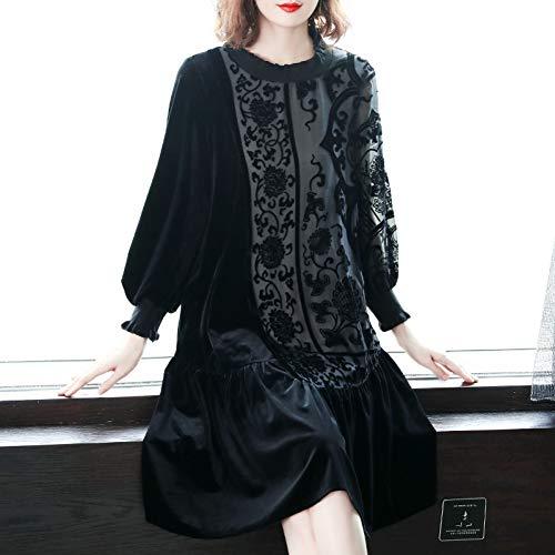 BINGQZ Cocktail Jurken Gouden jurk winter vrouwen zwart temperament over de knie lange rok in de herfst en winter neem een onderste rok