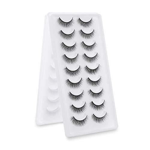 SKONHED 18 Pairs Neu wiederverwendbar Handgefertigte Lasche Natürliche Lange 3D Mink Hair Falsche Augenbrauen Klugscheißer Fluffy(3D02)