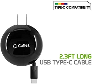 Cellet TCUSBC30R Type-C Powerful Fast Charging Wall Charger Compact Retractable (3Amp /15 Watt High Output) Compatible for Apple iPad Pro 11-inch, Pro 12.9-inch and Other Type C Smartphones - Black