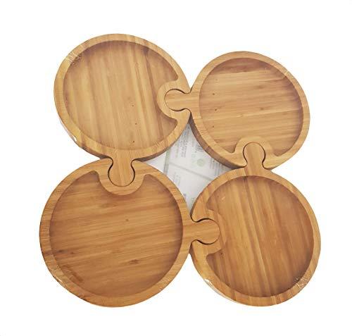 takestop Bandeja plato con divisiones compartimentos, 4 compartimentos, puzle de bambú redondo, 14,5 cm