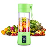 [Upgraded Version] Personal USB Juicer Cup,Portable Juicer Blender,Household Fruit Mixer - Six Blades in 3D,Rechargeable Fruit Mixing Machine For Baby Travel 380ml(green)