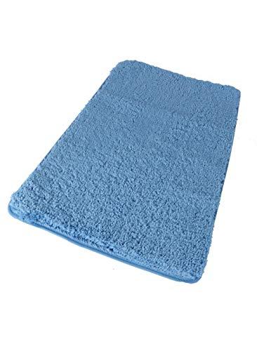 BM 4154 Tappeto Antiscivolo da Bagno Assorbente Scendidoccia Scendibagno in Microfibra 45x75 cm Blu