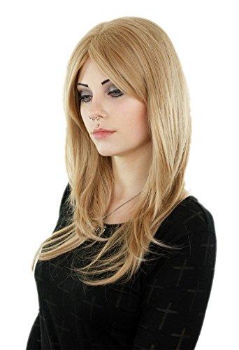 Prettyland Perruque Longue 60cm Blond Frange Lisse Dégradé Beige Wig Quotidien Coiffure Femme Coupe Naturel C1703