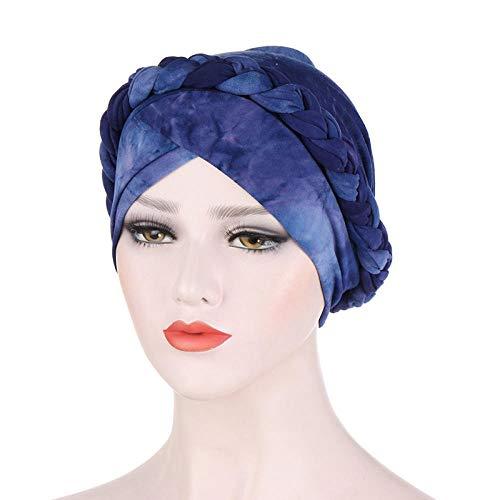 TOORY mural Mujeres Tie Dye Cross Twist Braid Turbante Sombrero Elástico Musulmán Pérdida De Cabello Cáncer Sombrero Chemo Beanie Cap Hijab Diadema Accesorios para El Cabello-Azul Real