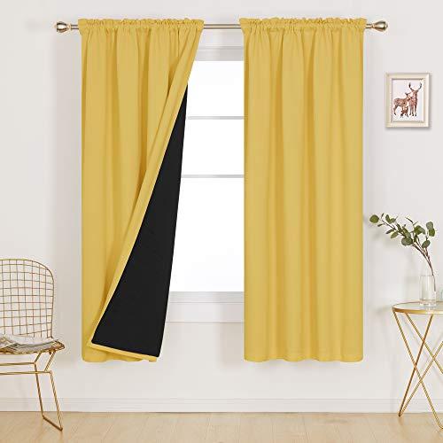 Deconovo Gelbe Vorhänge, Verdunkelungsvorhang, 100 % lichtblockierend, doppellagig, für Schlafzimmer, Erwachsene, Kinder, Jungen, Mädchen, Kinderzimmer, 1 Paar, 132 x 183 cm, Eigelbgelb