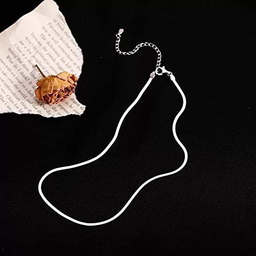 Cadena de clavícula chapada en color plateado, collar de cadena de hueso de serpiente plana para mujer, diseño de joyería fina de color plateado Collar de la amistad Regalo de cumpleaños para ella