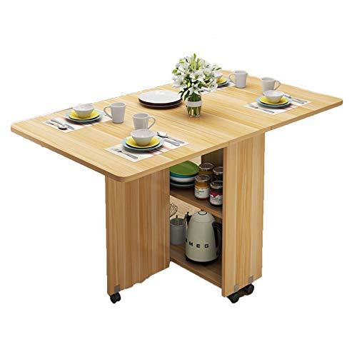 JIADUOBAO Mesa de comedor de madera plegable multifuncional para el hogar, muebles sencillos y modernos, mesa de almacenamiento extraíble (color: madera, tamaño: 140 cm)