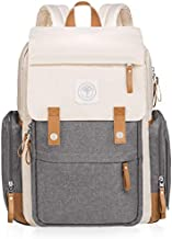 Baby On-The-Go Diaper Bag Backpack by Huggleboo - Large Maternity Bag with Wipes Pocket Stroller Straps Changing Pad & Insulated Pockets - Waterproof Canvas - Unisex Design for Moms Dads (Beige/Gray)