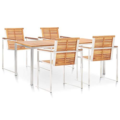 Goliraya Set Comedor de jardín 5 pzas y Cojines Madera Maciza de Acacia y Inoxidable,Silla y Mesa terraza,Conjunto sillas y mesas,Mesa Exterior terraza,Mesa de terraza con sillas,Conjunto terraza