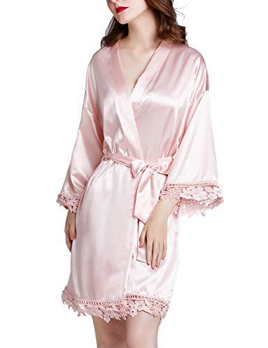 Dames Kimono Gewaden Dressing Japon Pure Color Satijnen Badjas Nachtjapon Kanten Nachthemd Korte Stijl Pyjama Jurk met Schuine V-Hals Voor Partij Bruiloft Bruid Bruidsmeisje Geschenken