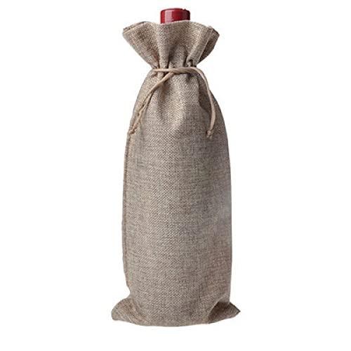 QUNLIPAI Bolsa de ottle de Yute de arpillera con Boca de Haz de 2 Piezas,empaque de Cubiertas ciegas para Botellas, J