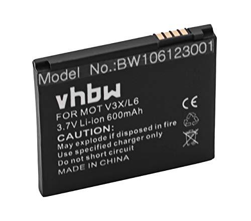 vhbw Akku passend für Motorola Aura, C257, C261, E690, E8, EM35, Krzr K1, L2, L6, L8 Handy Telefon ersetzt SNN5779, BC50 (600mAh, 3.7V, Li-Ion)