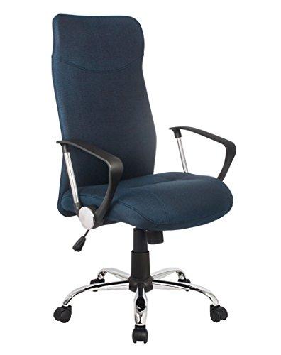 SixBros. Bürostuhl, Schreibtischstuhl mit hoher Rückenlehne, Drehstuhl für's Büro oder Home-Office, stufenlos höhenverstellbar & Metalldrehkreuz, Chefsessel mit Stoffbezug, dunkelblau H-935-6/2470