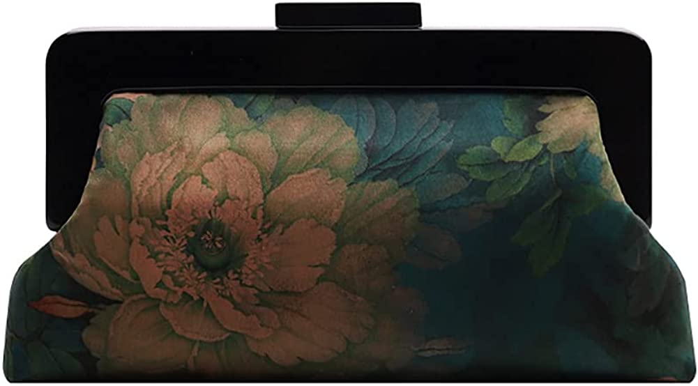 Chinese Style Watered Gauze Fabric Chinese Herbaceous Peony Jacquard Acrylic Handmade Women Evening Cocktail Party Clutch Handbag