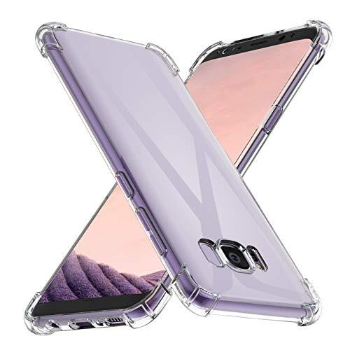 Losvick Coque pour Galaxy S8, Clear Silicone Premium Souple TPU Ultra Mince Quatre Coins Renforcé Housse Protection Antichoc Anti-Rayures Bumper Etui Cover pour Galaxy S8 - Transparent