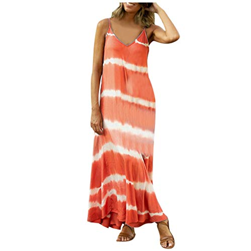 MORCHAN Robe Femme été Mode tie Dye Gradient Impression Robe sans Manches Casual Swing Mini Robe(Orange/XXXXX-Large)