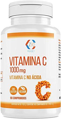 Vitamina C - Vitamina C 1000mg - Comprimidos veganos de Vitamina C pura -Vitaminas Diseñada Para un Sistema inmunitario Fuerte y Una Piel Sana | Sin Gluten y Apto Para Veganos | 90 Comprimidos