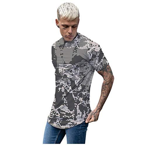 Yowablo Herren Poloshirt Polohemd Stehkragenshirt Kurzarmshirt Funktionsshirt Sportshirt Fitness Shirt Tee T-Shirt Sporthemd Trainingsshirt Sportswear T-Shirt (L,5Armeegrün)