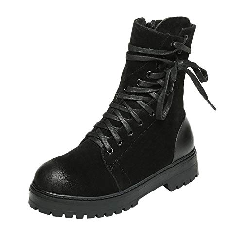 S&H-NEEDRA Frauen Retro Lace-Up Schuhe Plattform rutschfeste Round Toe Zipper Stiefel