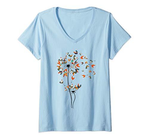 Womens Dandelion Chicken Flower T-Shirt Floral Chickens farmer Gift V-Neck T-Shirt
