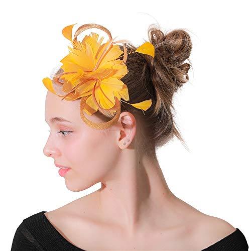 Ryyland-Accessories Coiffe de Fleur de Plume Pinces à Cheveux Lin Net Plume épingle à Cheveux épingle à Cheveux thé Partie Habiller Dame Coiffe Fascinant (Couleur : Jaune, Taille : Free Size)