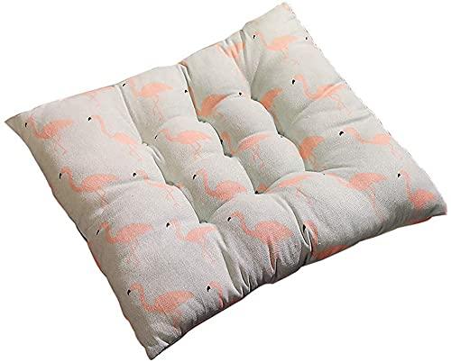 Cojín cuadrado y almohadillas con lazos, 40 x 40 x 5 cm, cojín para silla de jardín, juego de 1 hermosa a rayas reversible cocina comedor para muebles de interior y exterior - Flamingo