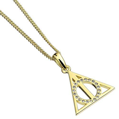 The Carat Shop Collar de Plata de Reliquias de la Muerte Chapado en Oro de Ley con Cristales Swarovski