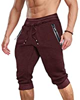 MAGCOMSEN Running Shorts for Men with Pockets Running Pants Workout Pants Mens Joggers Sweatpants for Men Capri Shorts Below Knee Pants Workout Shorts Gym Shorts Joggers for Men