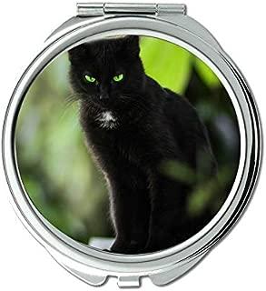 Mirror,Travel Mirror,Green Eyes Pet Stare Cat mirror for Men/Women,1 X 2X Magnifying