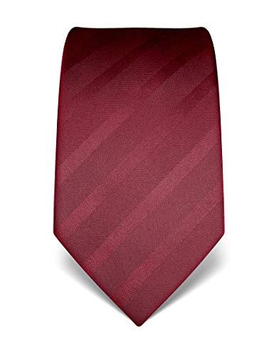Vincenzo Boretti Herren Krawatte reine Seide Ton in Ton gestreift edel Männer-Design zum Hemd mit Anzug für Business Hochzeit 8 cm schmal/breit weinrot