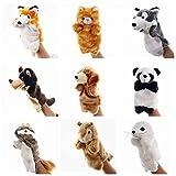 Suave Preciosas 9pcs linda de los animales de la marioneta muñecos de peluche for los niños Panda ratón marioneta de dedo del guante de aprendizaje for bebés Juguetes Animales mano juguete Títeres Nat