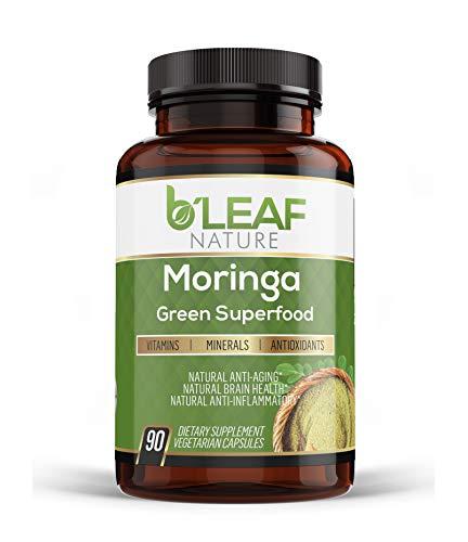 Organic Moringa 90 Capsules 1000mg - Pure Moringa Leaf Powder - Immune System Booster - Nutritional Supplement - Vegetarian Caps