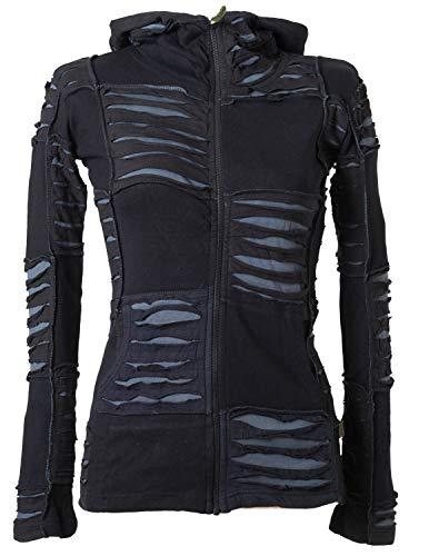 Vishes - Alternative Bekleidung - Damen Patchwork Jacke mit Cutwork und Zipfelkapuze schwarz-grau 42