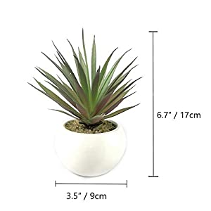 tuokorgreen small artificial plants in ceramic pots, faux greenery 2 pcs set 3.5″ x 6.7″(d x h) silk flower arrangements