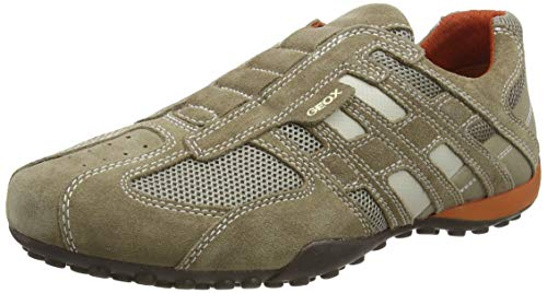 Geox UOMO SNAKE L, Sneakers Base, Beige (Beige/Dk Orange C0845), 45 EU
