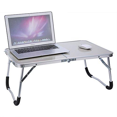 Zerone Multifunktionaler Computertisch, Betttisch, faltbar, aus Aluminiumlegierung, Picknicktisch, Weiß / Grün