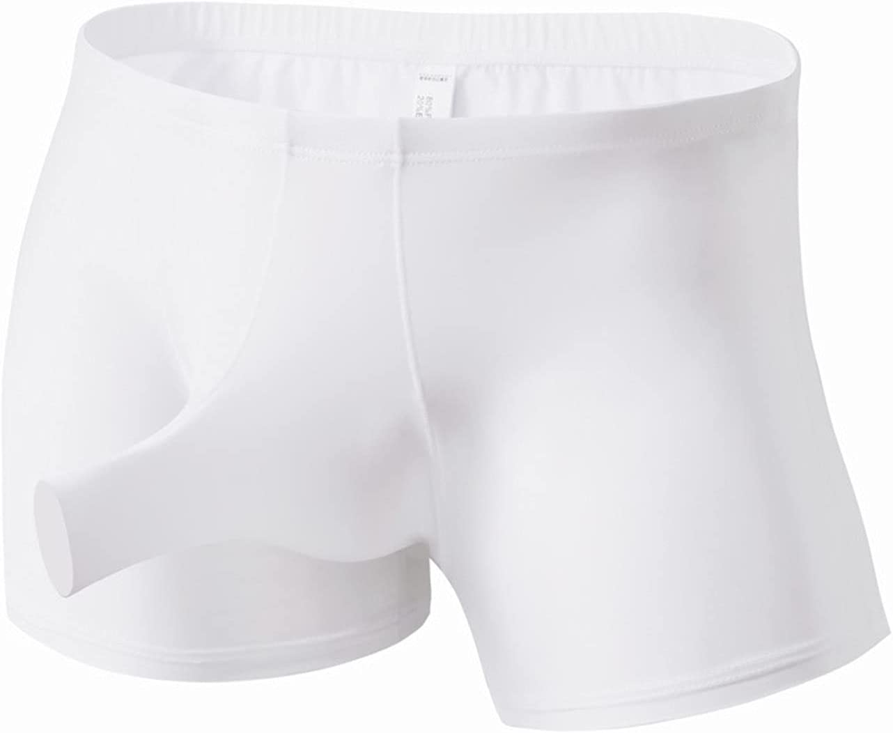 Mens Ice Silk Elephant Nose Boxer Briefs U Convex Breathable Soft Underwear Sexy G-String Thong Underpants with Pouch (White,XX-Large)