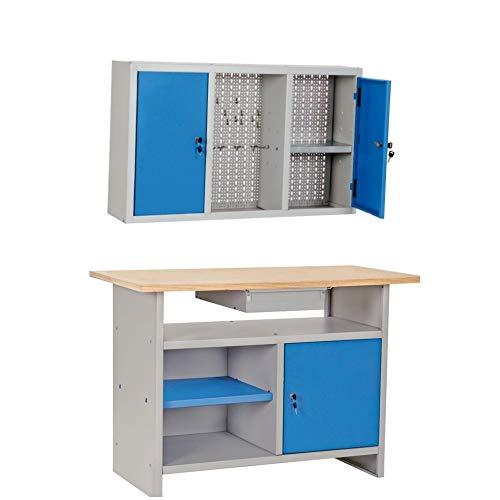 Banco da lavoro con piano in legno più armadio pensile portautensili + 30 ganci omaggio
