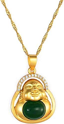 Yiffshunl Collar Collar de Piedra Verde Buda Collares con Colgantes Mujer Amuleto Estilo Elementos de la Cultura China Collar joyería Maitreya Collar Regalo